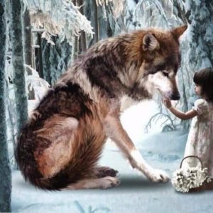 Photo of Wolf Girl Diamond Painting Design