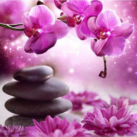Photo of Magenta Zen Flowers Diamond Painting Design