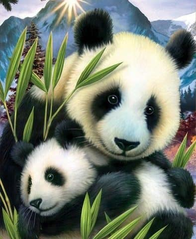 Photo of Panda Mother and Child Diamond Painting Design