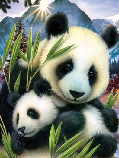 Photo of Panda Mother and Child Diamond Painting Design