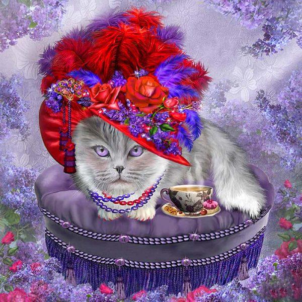 Photo of Cat in a Red Hat Design