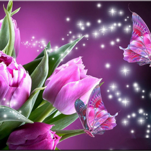 Photo of Magenta Butterfly Flowers Diamond Painting Design