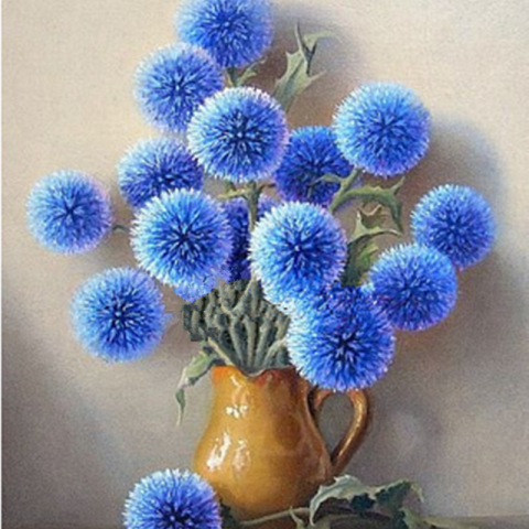 Photo of Round Blue Flowers Diamond Painting Design
