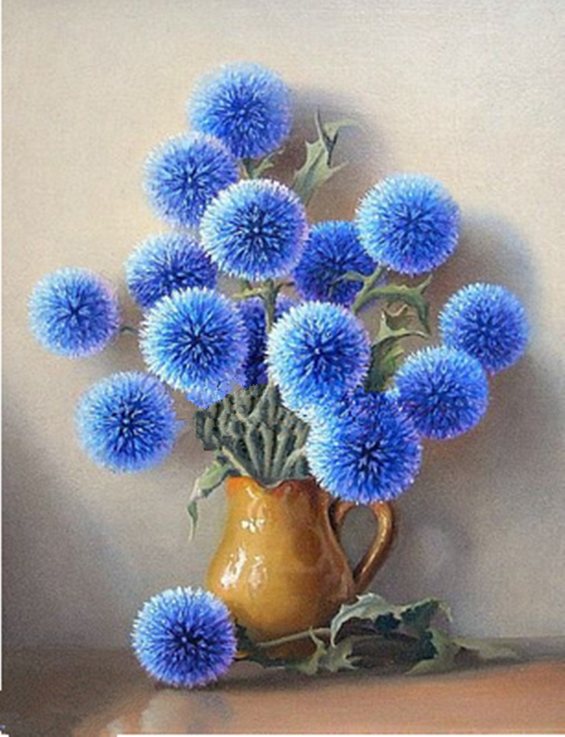 Round Blue Flowers Diamond Painting Kit At Diamondpaintingkits Com