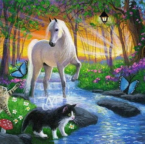 Photo of Horse and Cat Diamond Painting Design