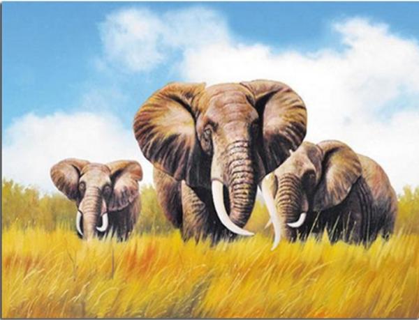 Photo of Elephant Family Diamond Painting Design