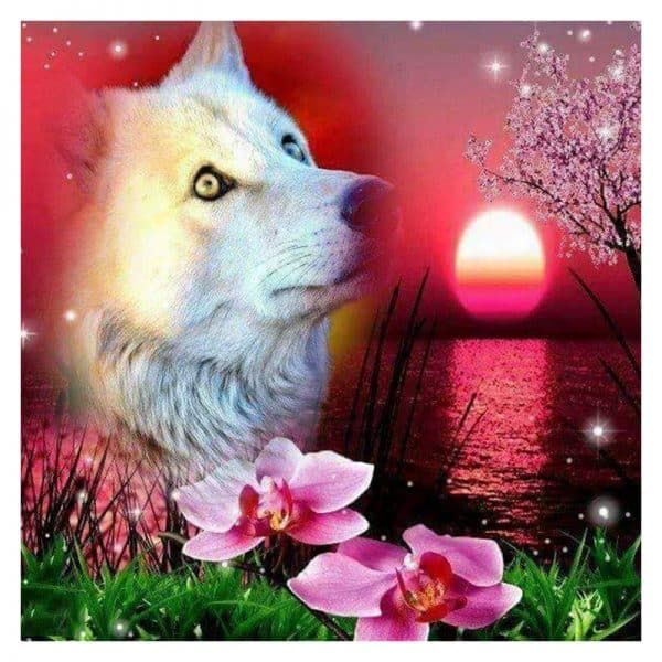 Photo of Pink Wolf Sunset Diamond Painting Design