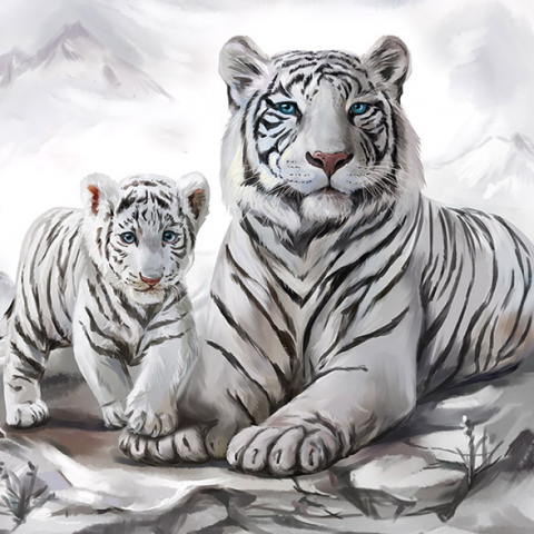 Photo of White Tiger Cub Diamond Painting Design