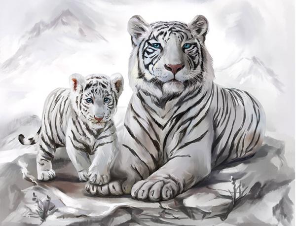 Photo of White Tiger Cub Diamond Painting Design