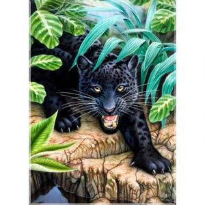 Photo of Wild Black Cat Diamond Painting Design