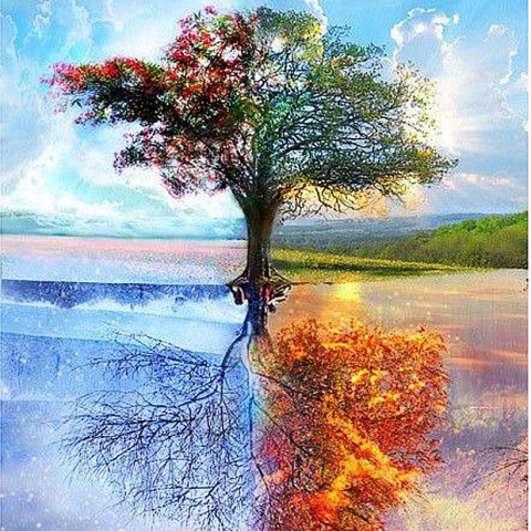 Photo of Four Seasons Tree Diamond Painting Design