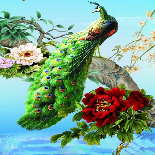 Photo of Peacock and Flowers Diamond Painting Design