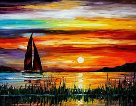 Photo of Sailboat Sunset Diamond Painting Design