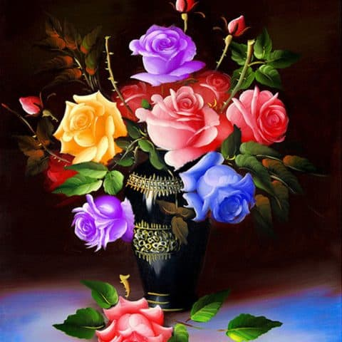 Photo of Colorful Rose Diamond Painting Design