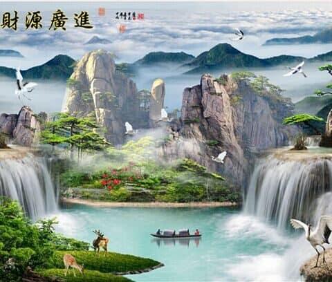 Photo of Asian Mountain Lake Diamond Painting Design