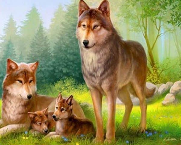 Photo of Wolf Family Diamond Painting Design