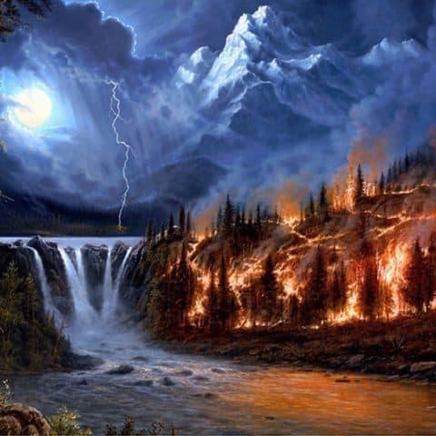 Photo of Burning Forest Diamond Painting Design
