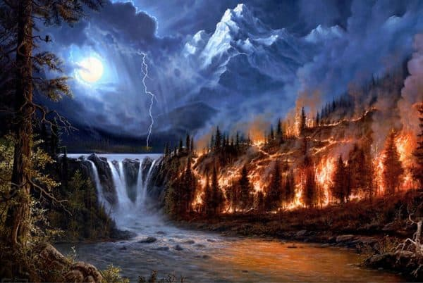 Photo of Burning Forest Diamond Painting Design