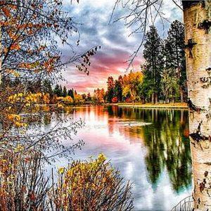 Photo of Woodland Lake Sunset Diamond Painting Design