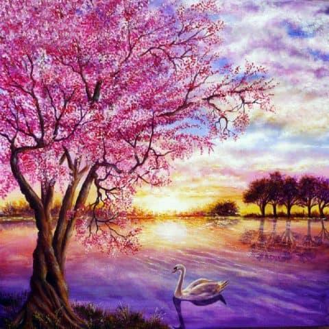 Photo of Swan and Sakura Diamond Painting Design