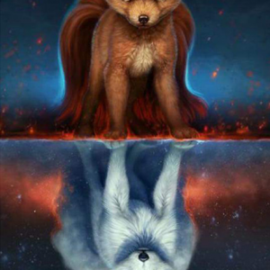 Photo of Double Fox Diamond Painting Design