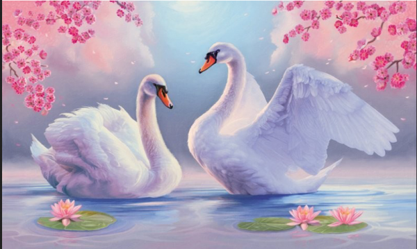 Photo of Swan and Pink Flowers Diamond Painting Design