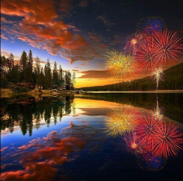 Photo of Sunset Fireworks Diamond Painting Design