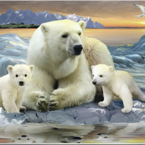 Photo of Polar Bear Mom and Cubs Diamond Painting Design