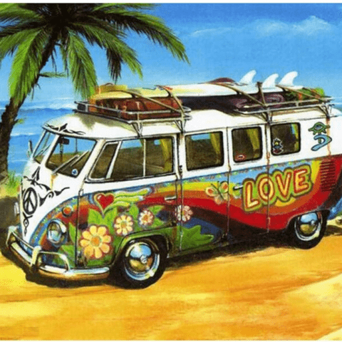 Photo of Beach Surf Van Diamond Painting Design