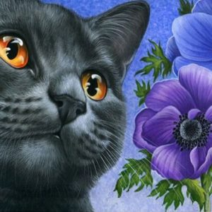 Photo of Black Cat Purple Flower Diamond Painting Design