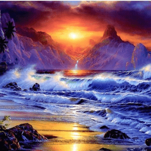 Photo of Crashing Waves Diamond Painting Design