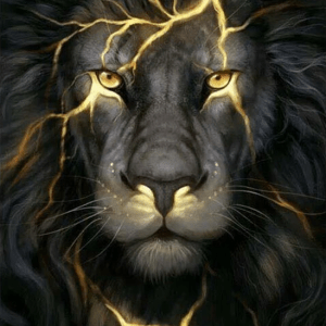 Photo of Black Lightning Lion Diamond Painting Design