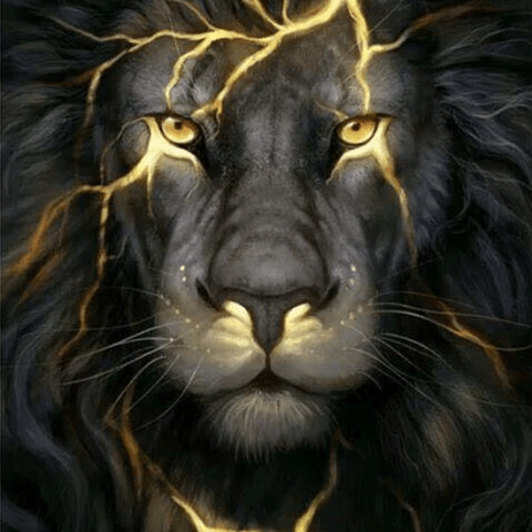 Photo of Black Lightning Lion Diamond Painting Design
