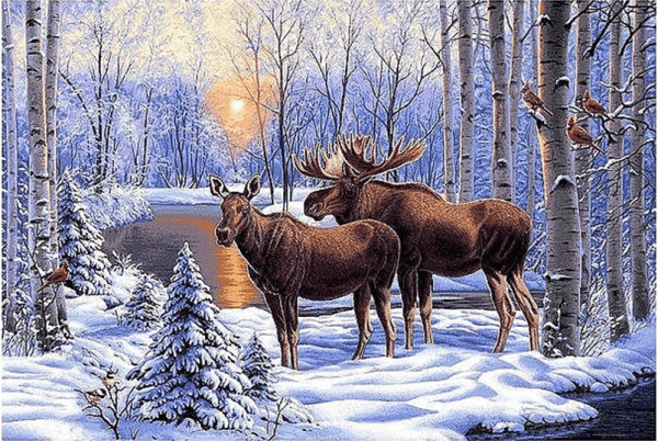 Photo of Moose Winter Lake Diamond Painting Design