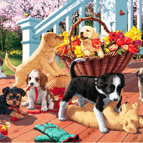 Photo of Puppy Flower Party Diamond Painting Design