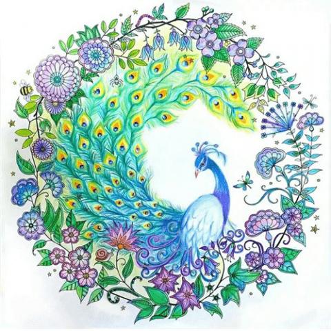 Photo of Peacock Circle Diamond Painting Design
