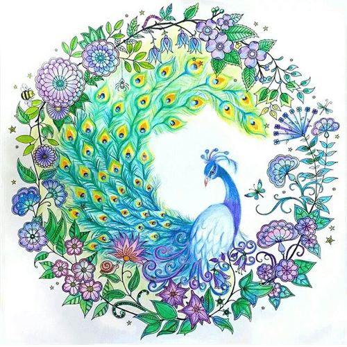 Photo of Peacock Circle Diamond Painting Design
