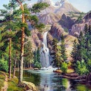 Photo of Mountain Spring Waterfall Diamond Painting Design