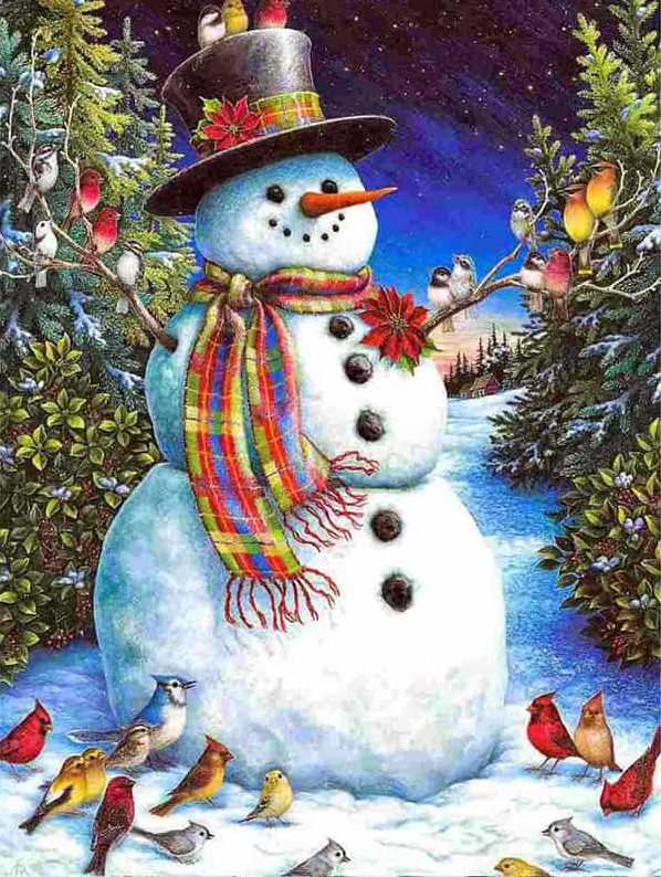 Photo of Snowman with Birds Diamond Painting Design