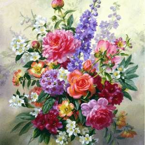 Photo of Beautiful Flower Bouquet Diamond Painting Design