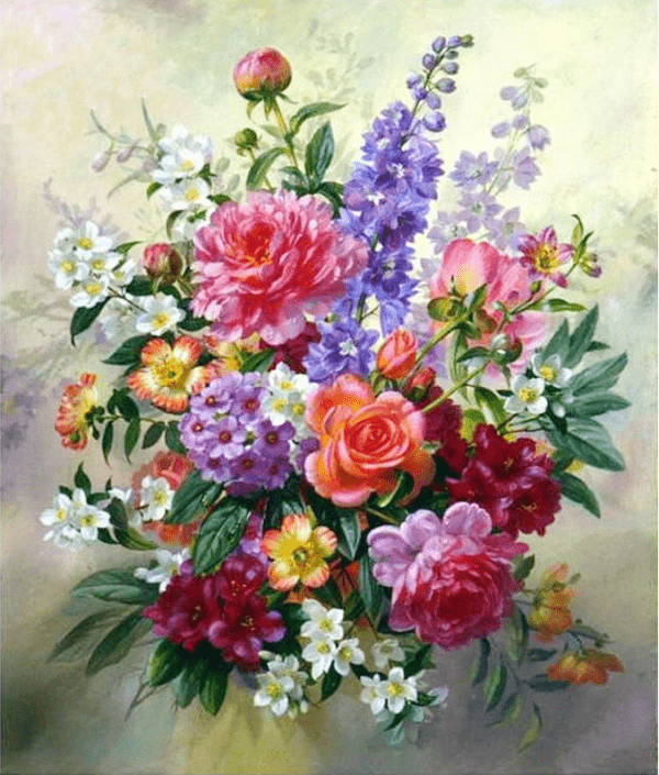 Photo of Beautiful Flower Bouquet Diamond Painting Design