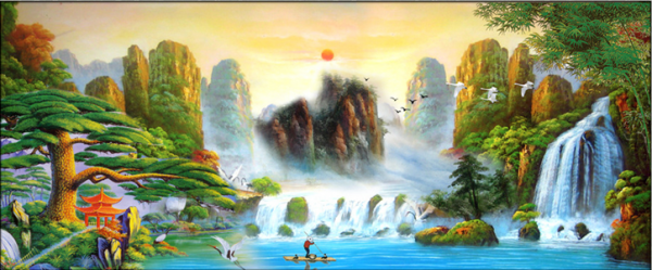 Photo of Chinese Falls and Mountains Diamond Painting Kit Design