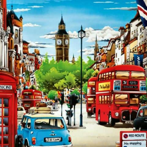 Photo of London Tour Diamond Painting Kit Design