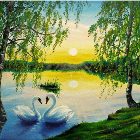 Photo of Swan Lake Sunset Diamond Painting Design