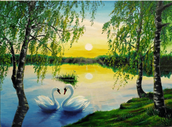 Photo of Swan Lake Sunset Diamond Painting Design
