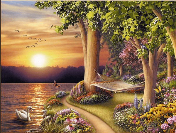 Photo of Swan Lake Forest Diamond Painting Design