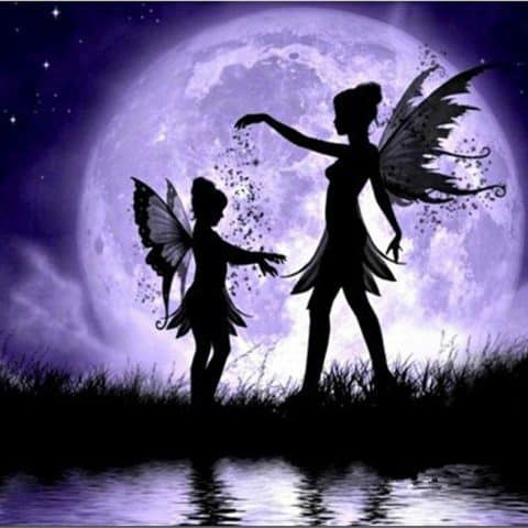 Photo of Fairy Sisters Moonlight Diamond Painting Kit Design