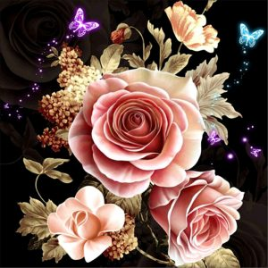 Photo of Pastel Rose and Butterflies Diamond Painting Kit Design