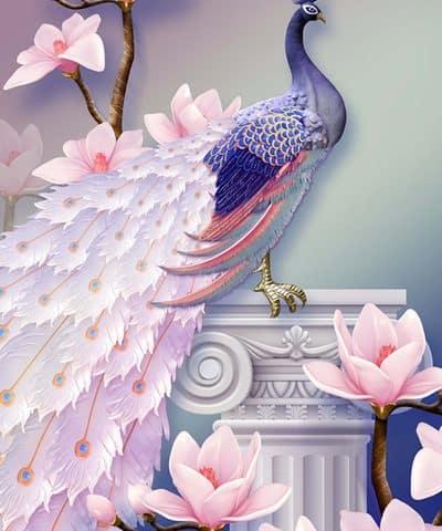 Photo of Pink Peacock Pedestal Diamond Painting Kit Design
