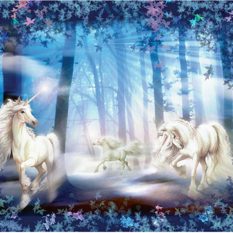 Photo of White Unicorn Forest Diamond Painting Kit Design
